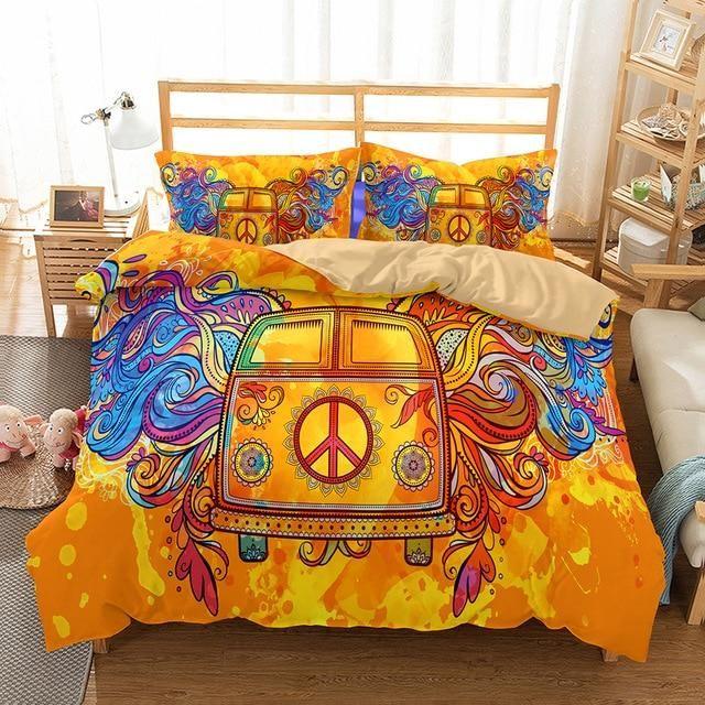 3D Hippie Peace Symbol Duvet Cover Bedding Set Pillowcase Quilt//Comforter Cover