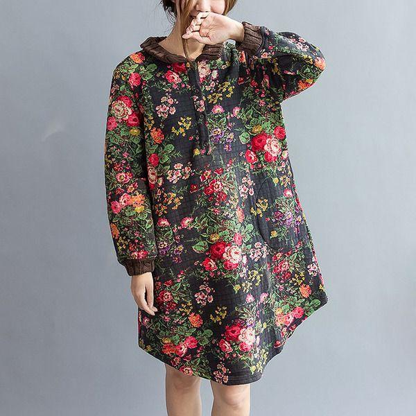Noir coton imprimé revers talonnage Robe chemise de cotton&linen sur DaWanda.com