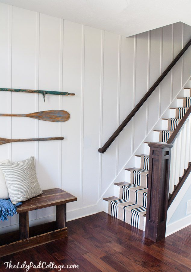 Use strips of lath on your walls vs board and batton. This would look good anywhere. Love the contrast as well......d.