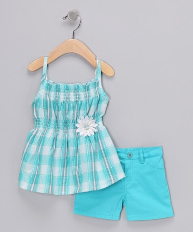 Teddy Boom Blue Daisy Tank & Shorts Set on #zulily!