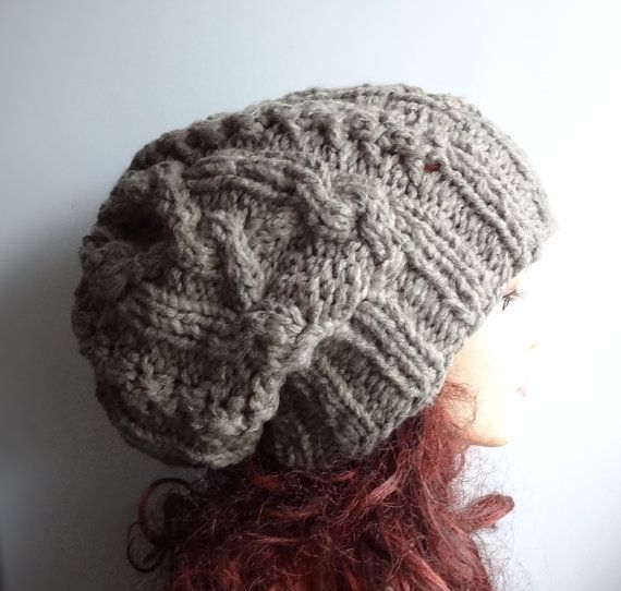 Handmade Knit Cable Hat 1 mens Slouchy Hat Beanie Large by Ifonka