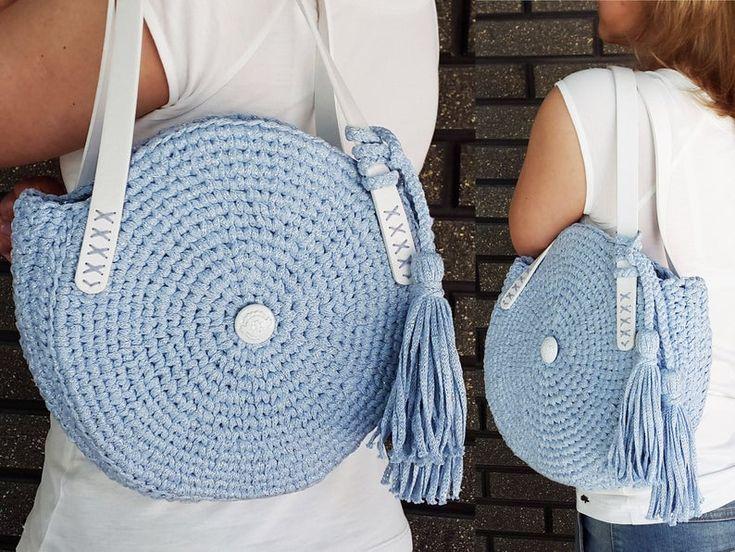 Crochet round bag Knit circle bag Stylish blue women's | Etsy