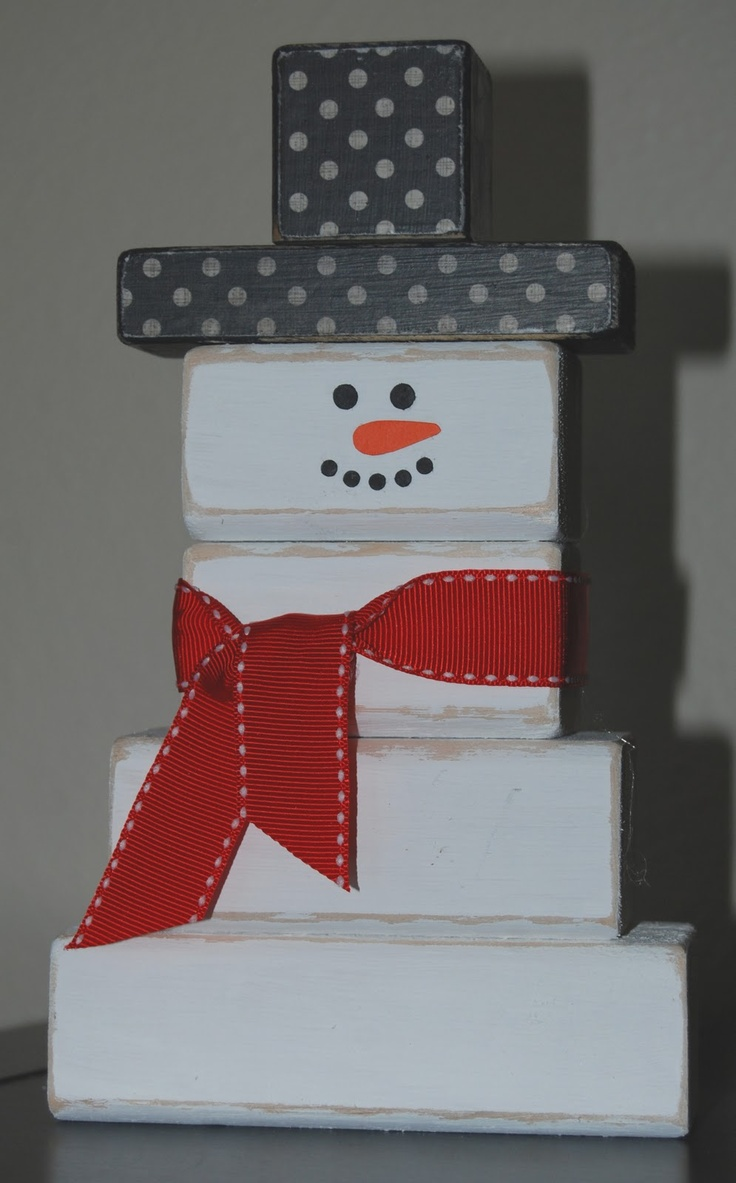 Snowman wood projects pinterest snowman for Large wooden blocks for crafts