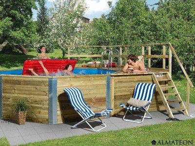 Très grande piscine octogonale en bois, modèle Korfu 1