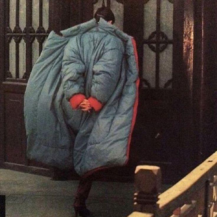 Norma Kamali's sleeping bag coat, British Vogue, October 1979 Photography by Alex Chaterlain