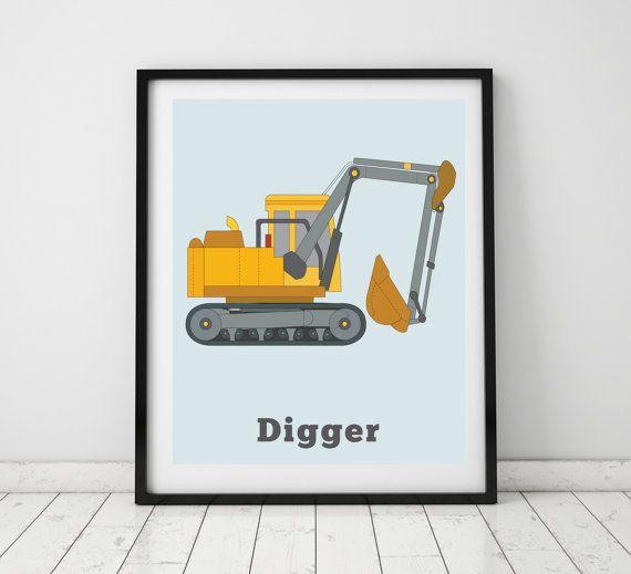 DIGGER PRINT Vehicle Prints Wall art boys by LittleGrippersStore