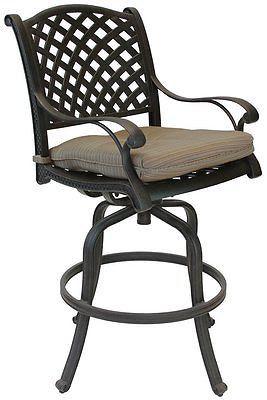 Set of 6 Outdoor Patio bar stools Furniture Nassau Swivel Aluminum