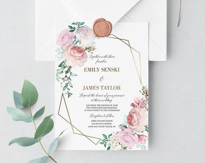 Printable Wedding Invitation Template Set Floral Watercolor Etsy In 2020 Wedding Invitations Printable Templates Printable Wedding Invitations Creative Wedding Invitations
