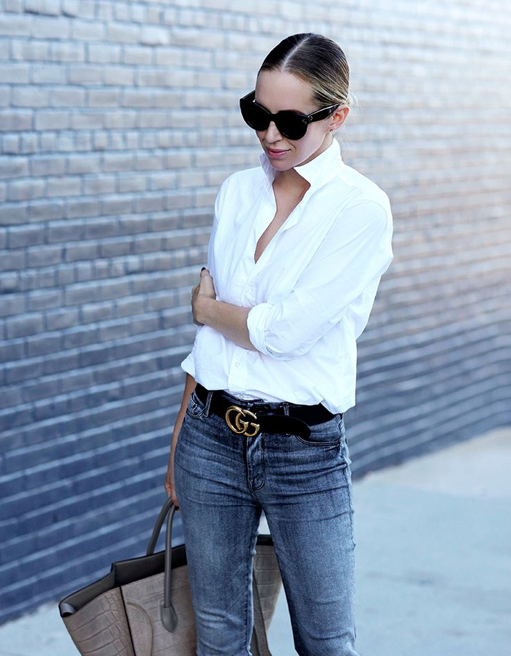 Frank & Eileen Barry Classic White Poplin Shirt & Gucci Belt | Helena of Brooklyn Blonde