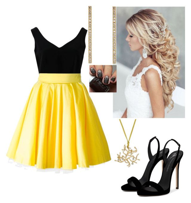 """Yellow Black"" by paoladouka on Polyvore featuring ADAM, Philipp Plein, Giuseppe Zanotti and Jennifer Meyer Jewelry"