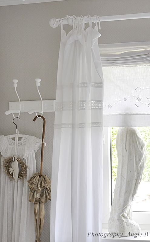 22 best curtains linens images on pinterest windows curtains and home - Shabby chic curtain poles ...