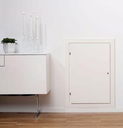 MidMaden SAN-seinäluukku soveltuu tarkastus- tai huoltoluukuksi. Eristetty luukku pitää vedon loitolla.