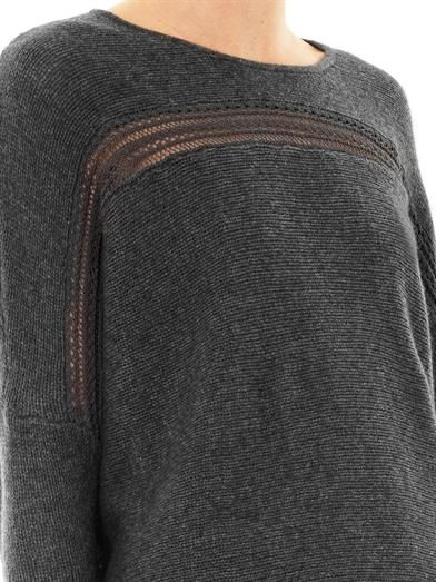 """""""Velvet"""" pullover sweater by Graham & Spencer. I think the lace insertion on this raglan top is interesting."""