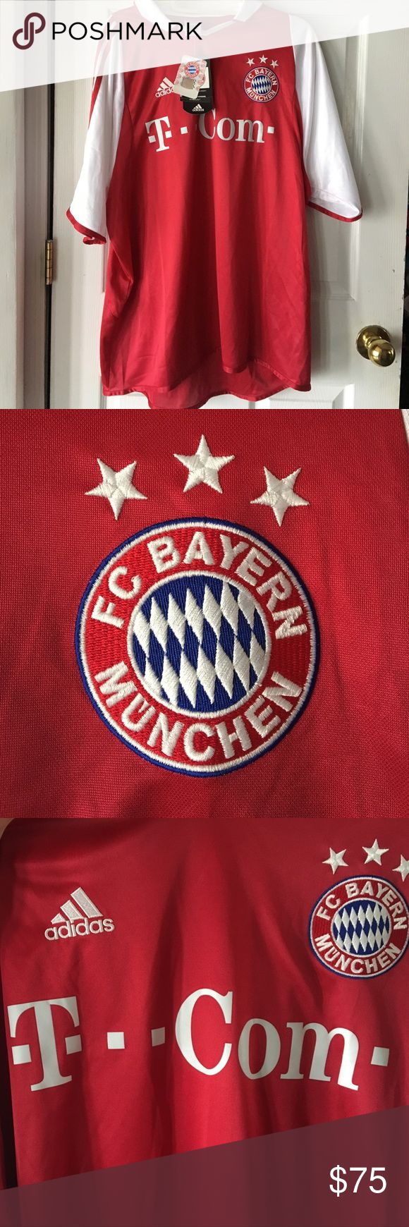 ADIDAS jersey! FC BAYER MUNCHEN! Brand new with tags! Have 3, all XL! Would make a perfect Father's Day present which is right around the corner! Get them while you can! T-Com- adidas Shirts