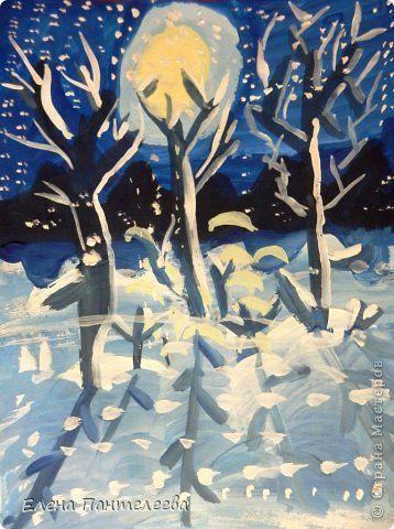 Картина панно рисунок Мастер-класс Новый год Рисование и живопись Зимний пейзаж в лунном свете Гуашь фото 1