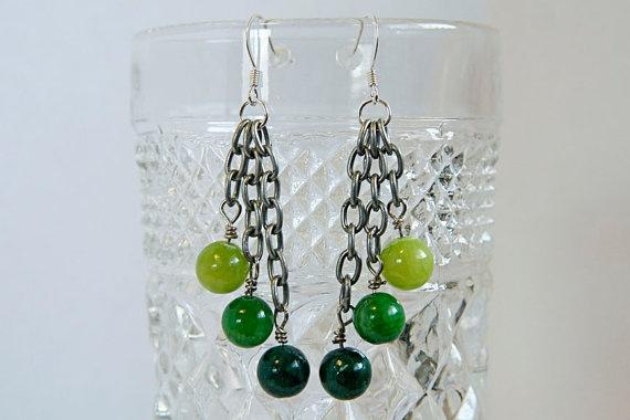 Green monochromatic dangle earrings