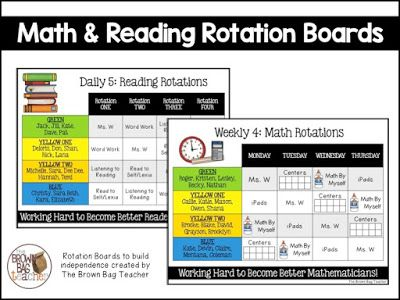 Daily 5 and guided math rotation board samples