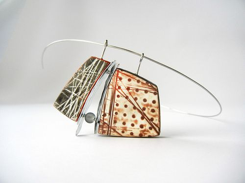 """""""Read between the Lines"""" - polymer clay, metal and glass pendant by Sonya…"""