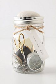 have in the laundry roomMasons, Sewing Kits, Pin Cushions, Jars Sewing, Gift Ideas, Diy Gift, Safety Pin, Mason Jars, Crafts