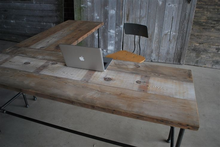 Modern Industry L Shape Reclaimed Wood Desk   Modern