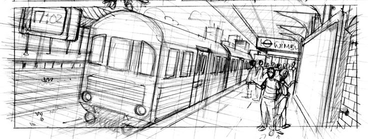 The guide lines that are roughly left here work nicely as they show a more rough side to the image. The basic sketch however has a nice simple urban feel to it and the use of humans in the picture give scale to this one point perspective and help give off a 3D look along with the train.