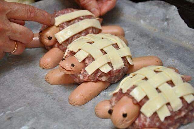 Schildpad, gehakt-knakworst-kaas