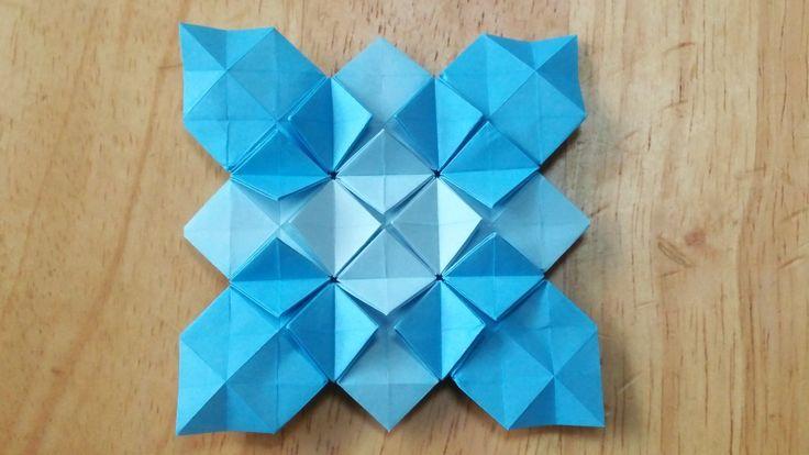 材料:折り紙1枚 16等分の折り方はこちら http://youtu.be/MvtMuOtW-DM