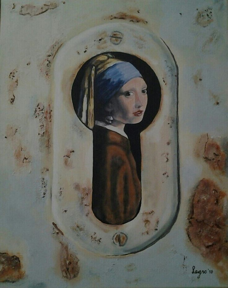 Schilderijen Girl with the pearl earring, acrylic and mixed media on canvas