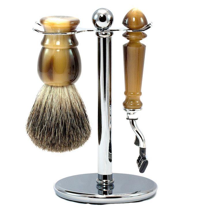 """Bayview"" 3-Piece Gillette Mach3 Shaving Set in Imitation Horn, Pure Grey Badger Shaving Brush"