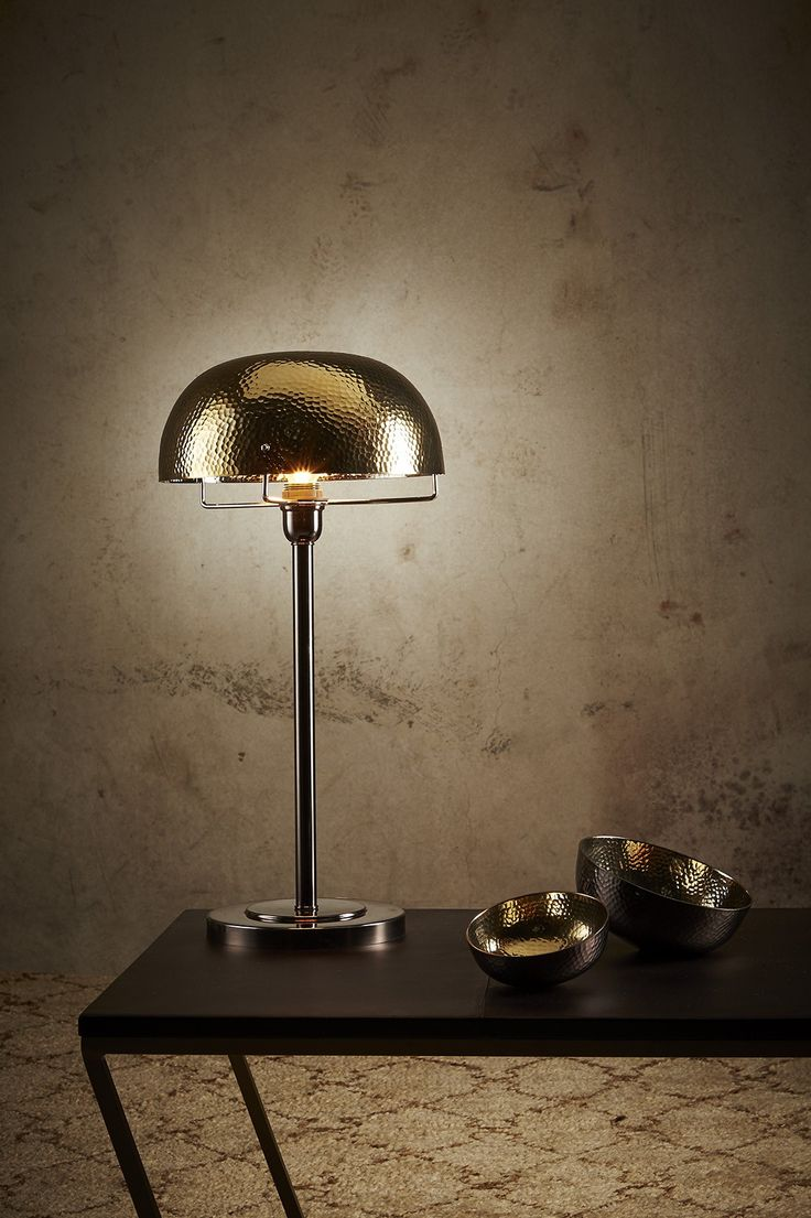Wh wholesale vintage lead crystal table lamp buy cheap - An Art Deco Inspired Table Lamp With A Metal Shade In A Two Tone Finish Featuring A Black Nickel Base And A Hammered Gold Shade