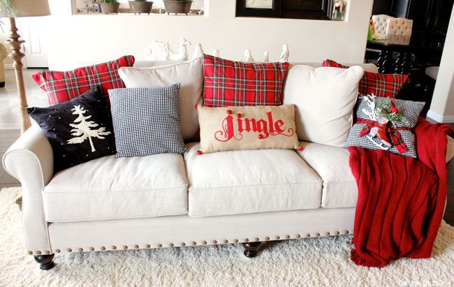 The plaid pillows are made from a $12 tablecloth. It's the most wonderful time of the year home tour - Design Dazzle