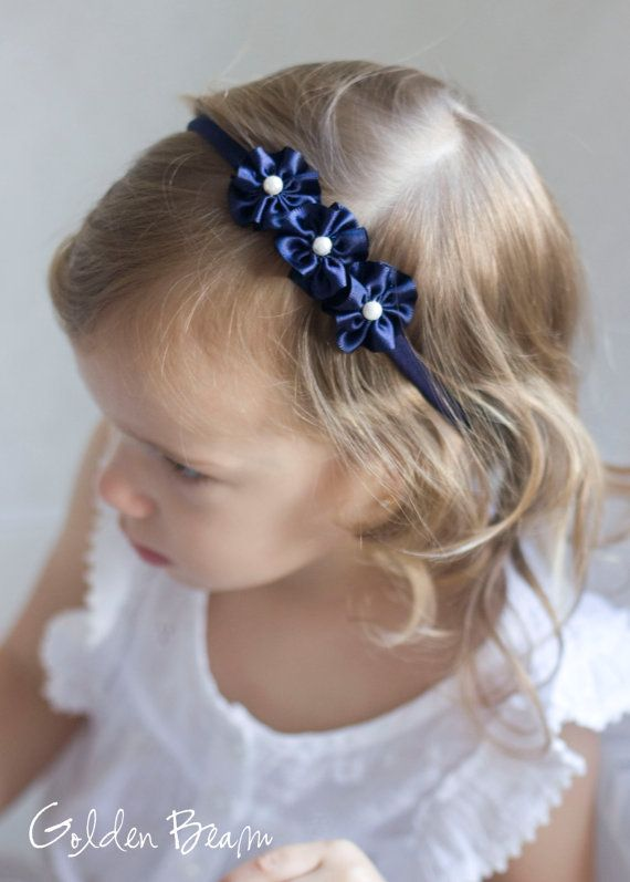 Flower Girl Headband  3 Navy and Pearl Flowers by GoldenBeam, £7.00