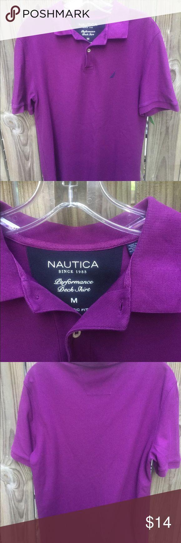 Nautica Purple Polo Shirt Men's shirt sleeve purple Nautica shirt.  Size Large.  Gently used. Nautica Shirts Polos