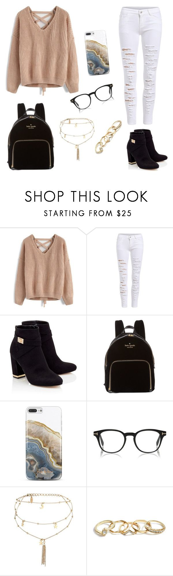 """""""Untitled #66"""" by ashlynnebagnal on Polyvore featuring Chicwish, Lipsy, Kate Spade, Nanette Lepore, Ettika and GUESS"""