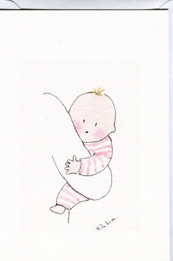 A baby card featuring a baby girl being carried, handmade and printed from an original watercolour White card and envelope and film wrap. 15cms x 10cms Blank inside. Birth congratulations, newborn girl card, new baby card, cards for baby girls, baby girl announcement card.