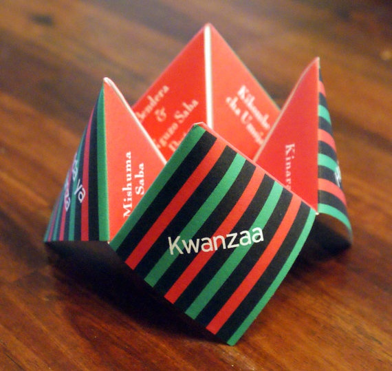 Happy Kwanzaa - Cootie Catcher featuring the 7 symbols and greetings of Kwanzaa, Favor, Decoration, Invitation, Card, Trivia, Game, Activities, Kwanzaa