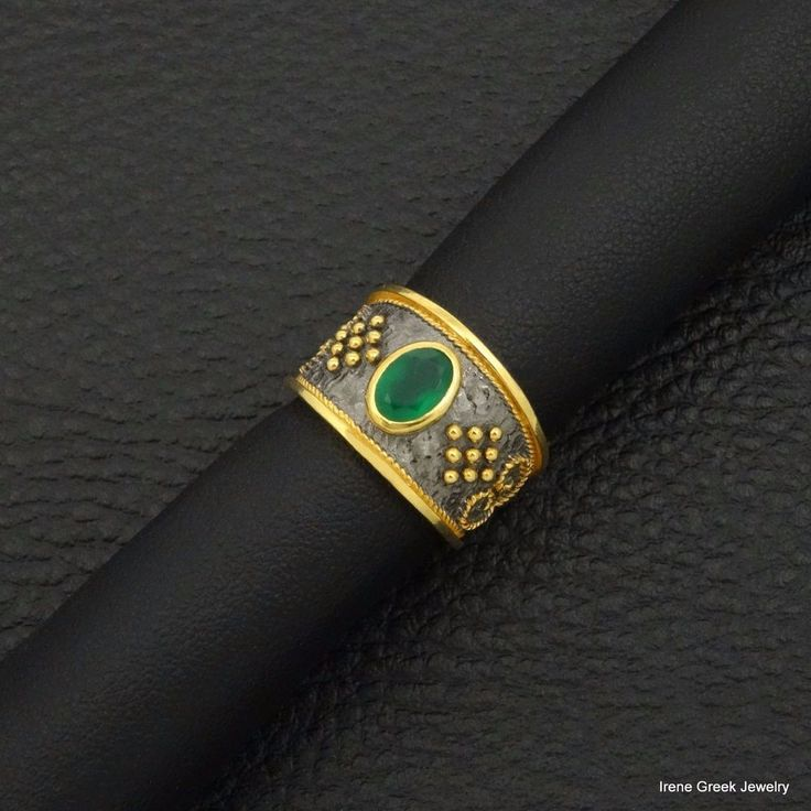 NATURAL GREEN ONYX BYZANTINE 925 STERLING SILVER 22K GOLD & BLACK RHODIUM RING #IreneGreekJewelry #Band