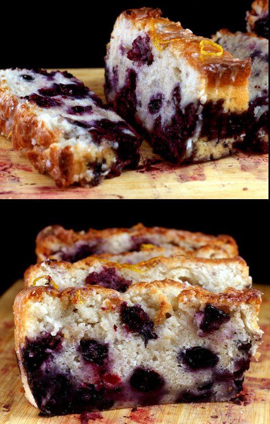 Smashed Blueberry Lemon Loaf Cake made with Greek Yogurt.