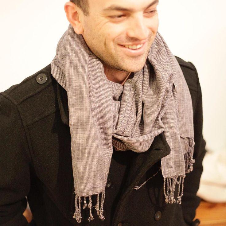 Double breasted pea coat matched with a handwoven scarf. Match made is heaven. #ES