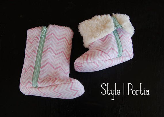 Baby Shoes in Pink Chevron with Turquoise Zipper | Baby Shoes for Girls, Baby Christmas Gifts