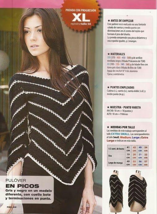 Jersey terminado en pico instrucciones - Patrones Crochet - crochet pattern black & white chevron sweater