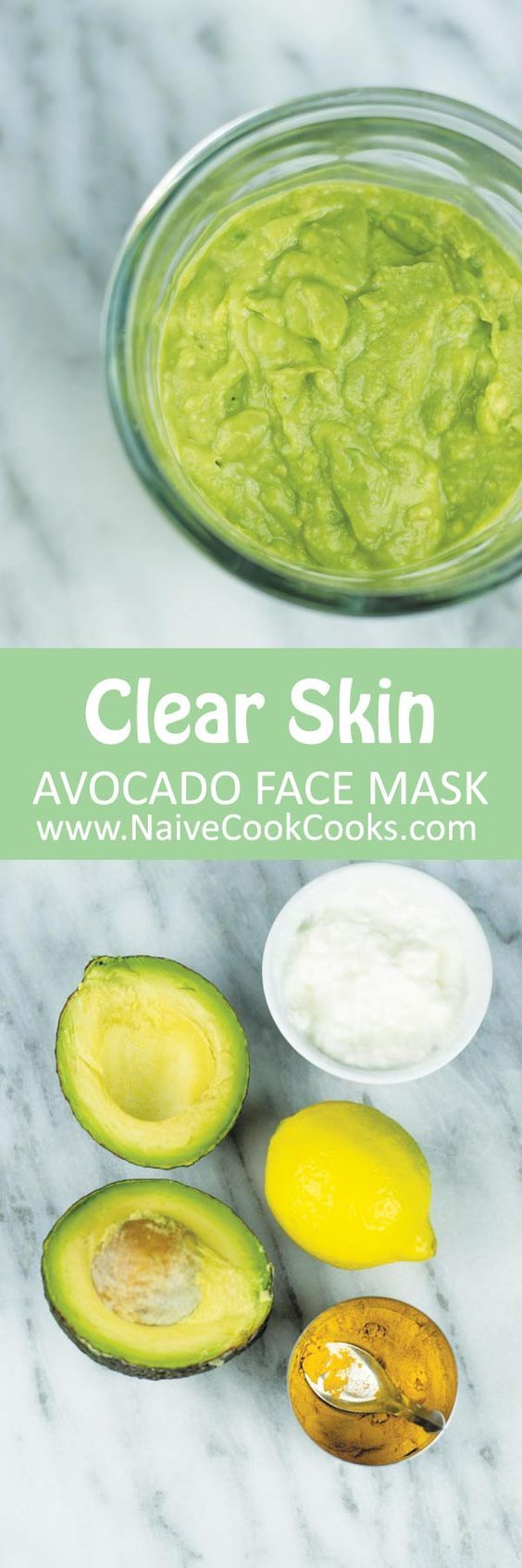 Homemade avocado face mask for clear skin. Only 4 ingredients which you already have in your kitchen.