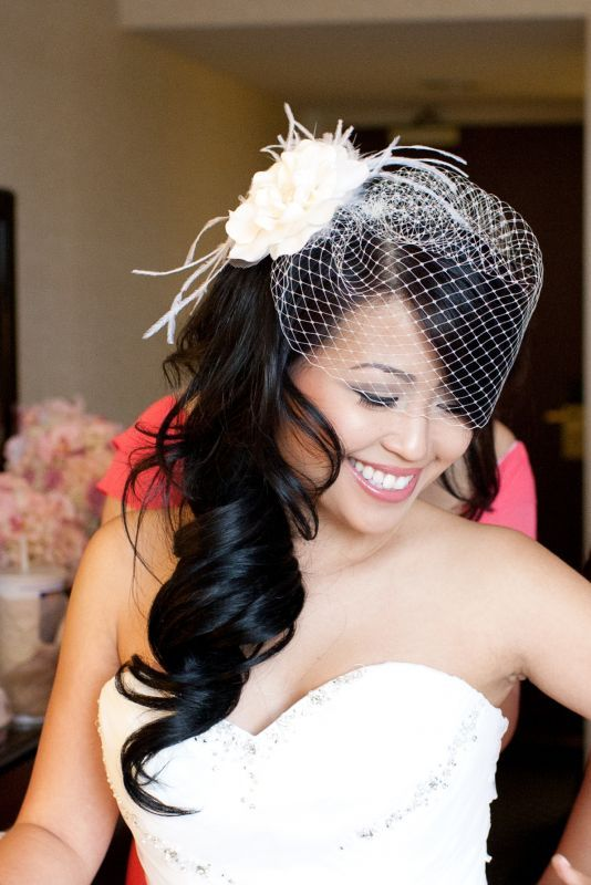 birdcage veil and fascinator side swept long asian hair