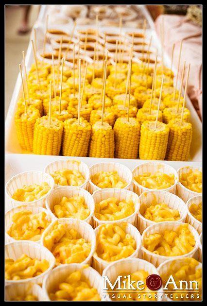 corn on a stick, mac-n-cheese cups - http://www.diyhomeproject.net/corn-on-a-stick-mac-n-cheese-cups