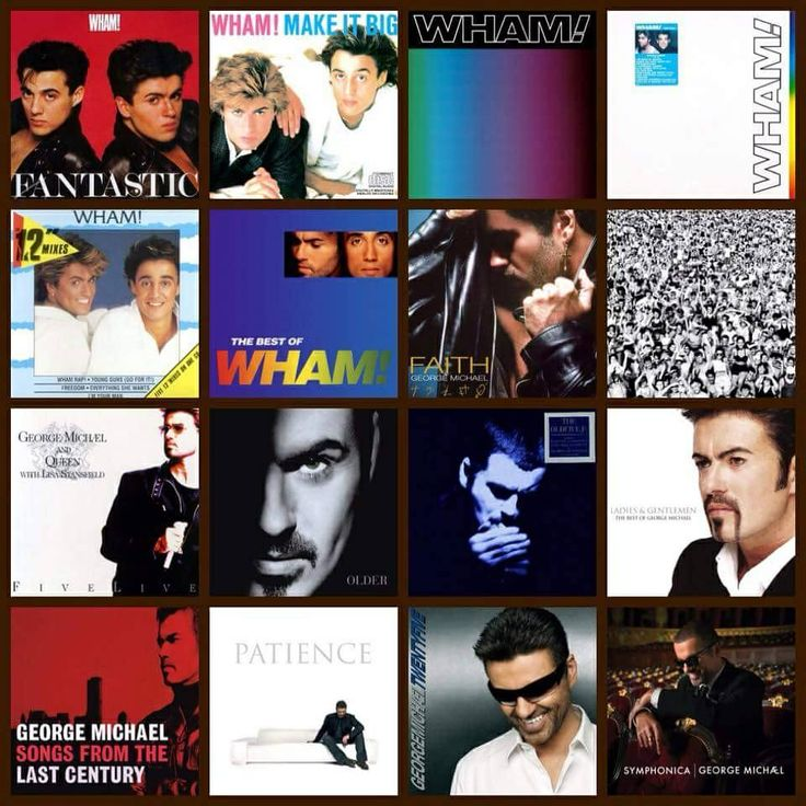 Montage of Wham! And George Michael album covers
