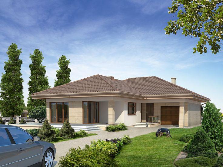 Projekt Neptun 5  (131 m2) to dom parterowy charakteryzujący się dużym salonem ze sporą ilością przeszklonej powierzchni. Pełna prezentacja projektu dostępna jest na stronie: https://www.domywstylu.pl/projekt-domu-neptun_5.php. #projekty #domy #mtmstyl #domywstylu #projekty gotowe #projekty domów #houses #home #style #design #architektura