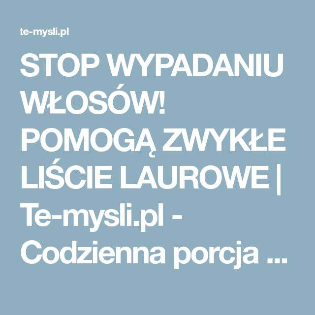 STOP WYPADANIU WŁOSÓW! POMOGĄ ZWYKŁE LIŚCIE LAUROWE   Te-mysli.pl - Codzienna porcja emocji, rozrywki, historii które wzruszają