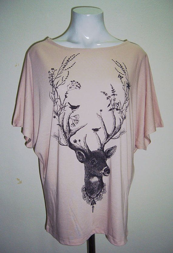 Reindeer Shirt Deer T Shirt Animal Shirt Deer Shirt Women Tops Shirts Women Tunics Nude T-Shirts Top Batwing Sleeve Woman T-Shirts Size S M on Etsy, $19.99
