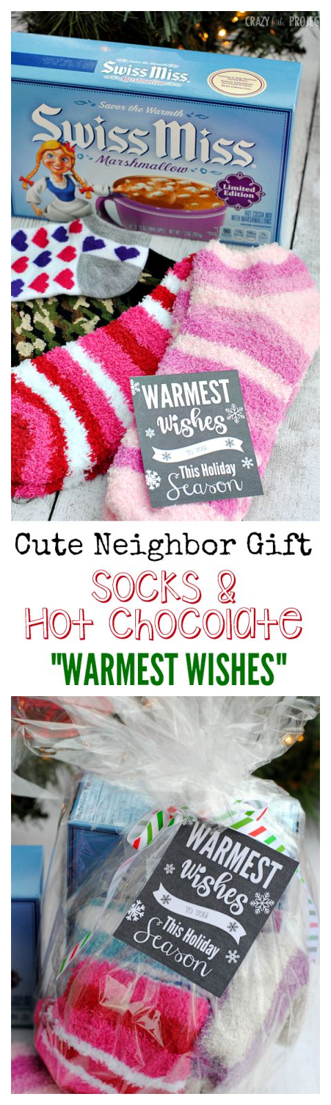 "Cute Neighbor Gift Idea! Warm fuzzy socks and hot chocolate with ""Warmest Wishes"" tag"