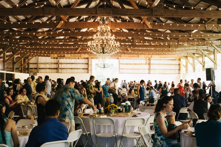Cafe lights in the @Sunset Ranch Hawaii Barn with chandeliers